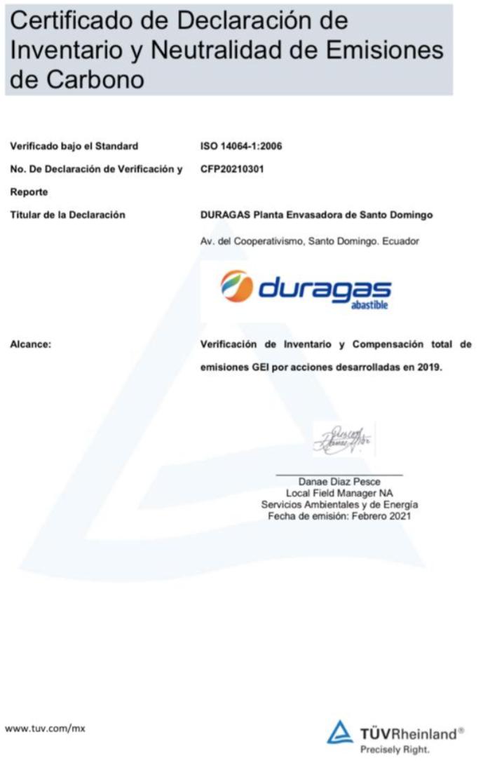 Líder en el sector de GLP con certificación de carbono neutro en Ecuador, Duragas Abastible Ecuador